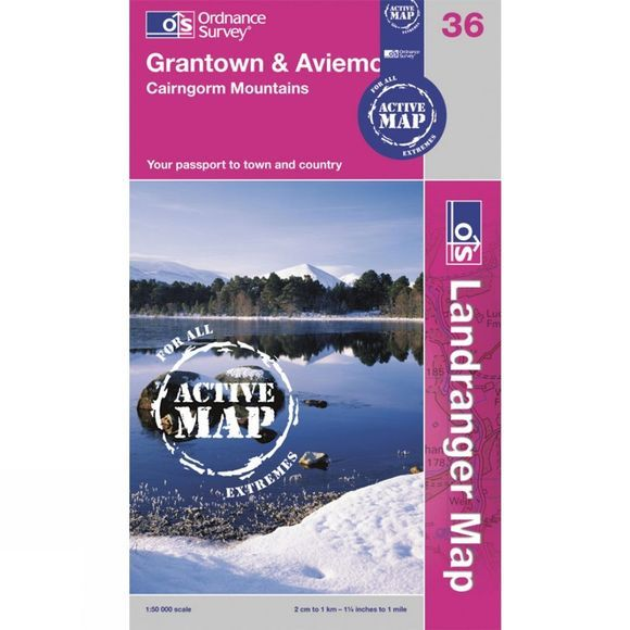 Ordnance Survey Active Landranger Map 36 Grantown and Aviemore .
