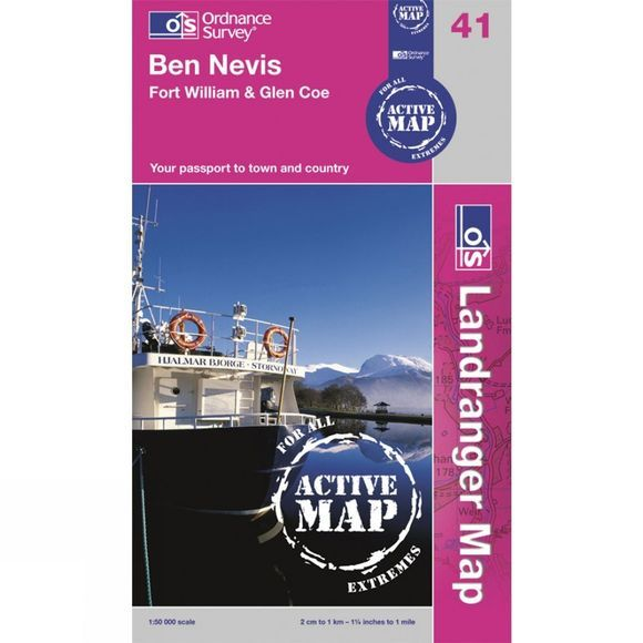 Ordnance Survey Active Landranger Map 41 Ben Nevis, Fort William and Glen Coe .