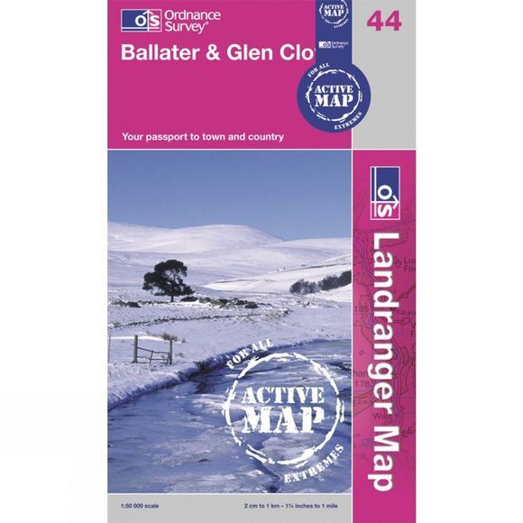 Ordnance Survey Active Landranger Map 44 Ballater and Glen Clova .