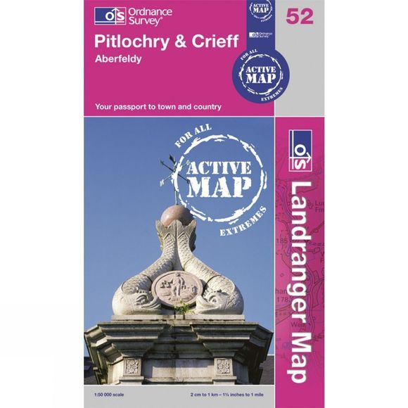 Ordnance Survey Active Landranger Map 52 Pitlochry and Crieff .