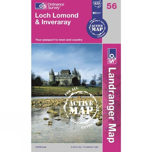 Ordnance Survey Active Landranger Map 56 Loch Lomond and Inveraray .