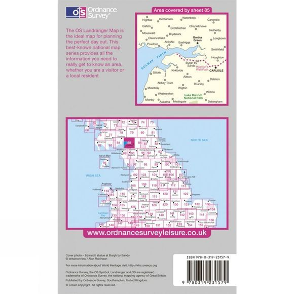 Ordnance Survey Active Landranger Map 85 Carlisle and Solway Firth .