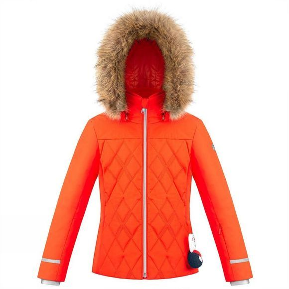 Poivre Blanc Girls Diamond Quilted Ski Jacket 14+ Clementine Orange