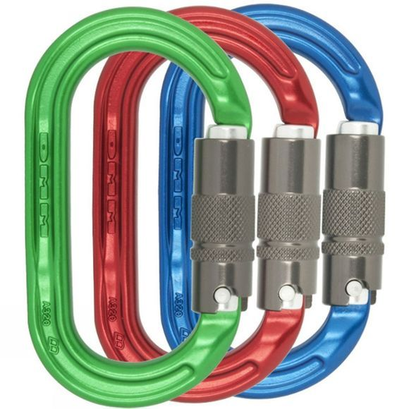DMM Ultra O Oval Locksafe Pack of 3 Colour Karabiners Assorted