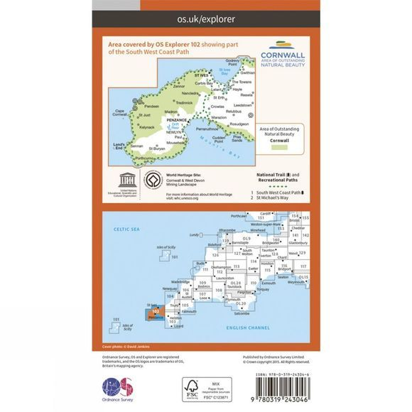 Ordnance Survey Explorer Map 102 Land's End V15