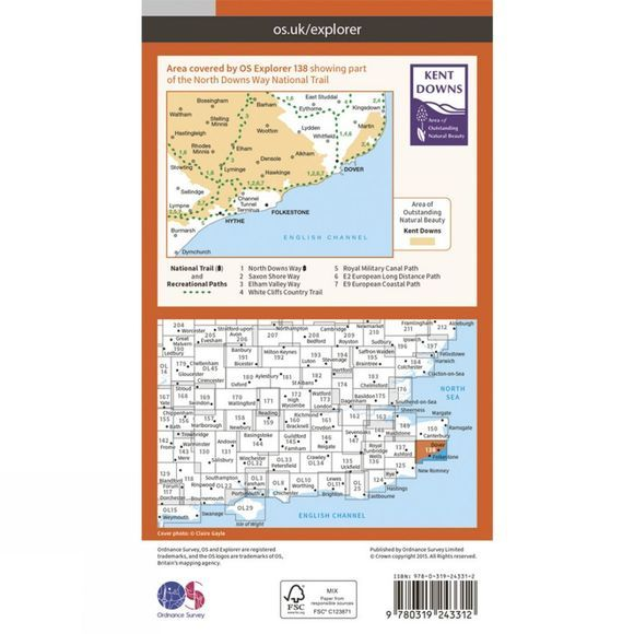 Explorer Map 138 Dover, Folkestone and Hythe