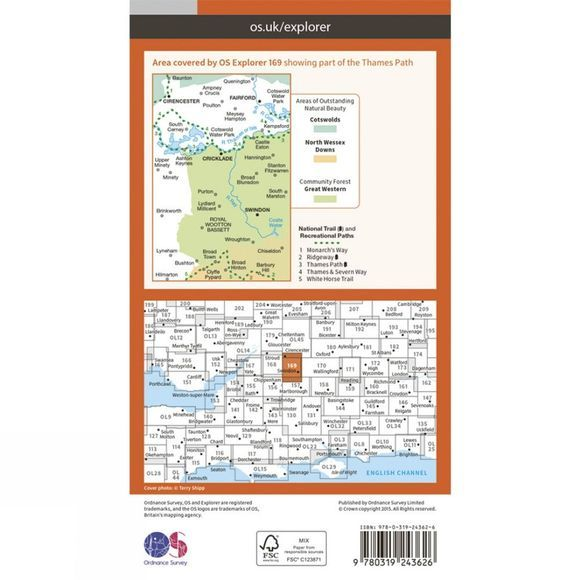 Ordnance Survey Explorer Map 169 Cirencester and Swindon V15