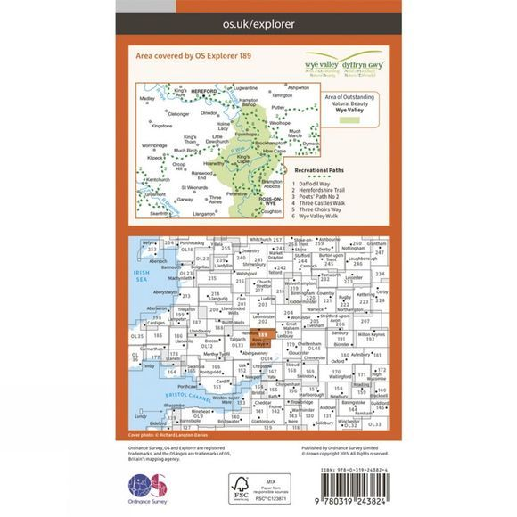Explorer Map 189 Hereford and Ross-on-Wye