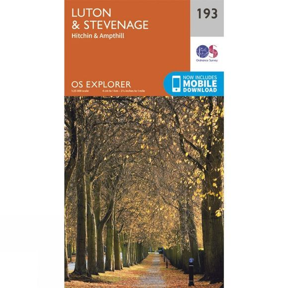 Ordnance Survey Explorer Map 193 Luton and Stevenage V15