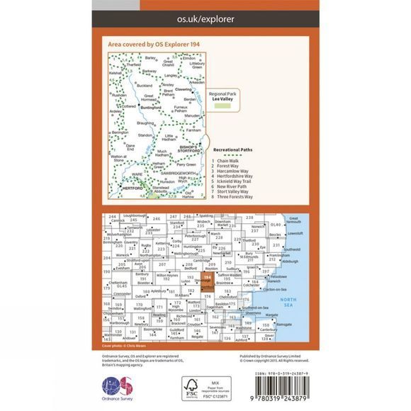 Explorer Map 194 Hertford and Bishops Stortford