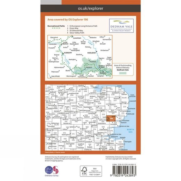 Explorer Map 196 Sudbury, Hadleigh and Dedham Vale