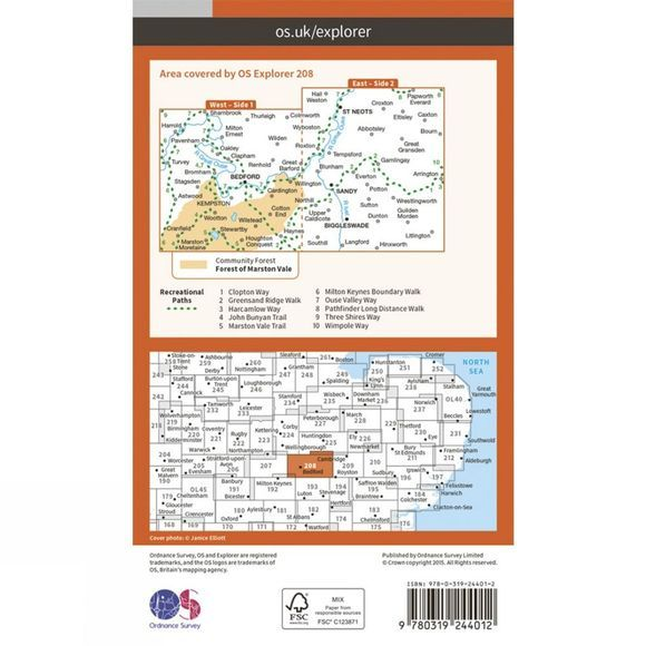 Explorer Map 208 Bedford and St Neots