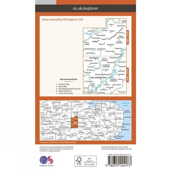 Ordnance Survey Explorer Map 224 Corby, Kettering and Wellingborough V15