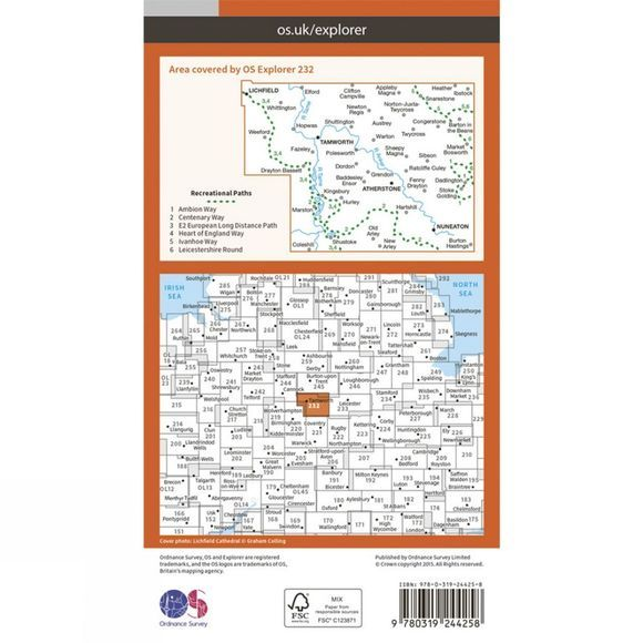 Explorer Map 232 Nuneaton and Tamworth