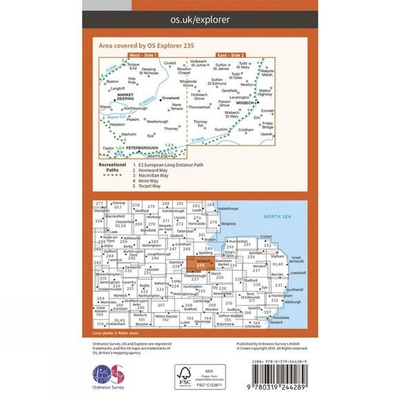 Explorer Map 235 Wisbech and Peterborough North