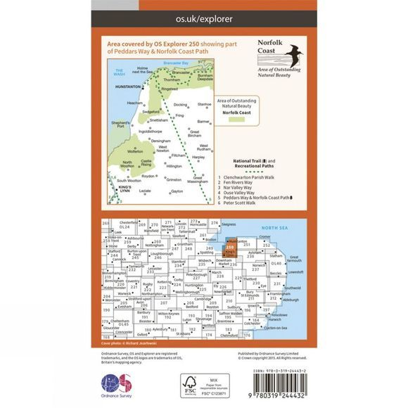 Ordnance Survey Explorer Map 250 Norfolk Coast West V15