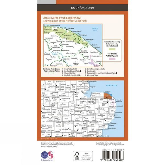 Ordnance Survey Explorer Map 252 Norfolk Coast East V15