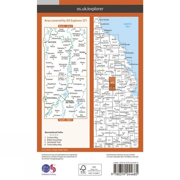 Ordnance Survey Explorer Map 271 Newark-on-Trent V15