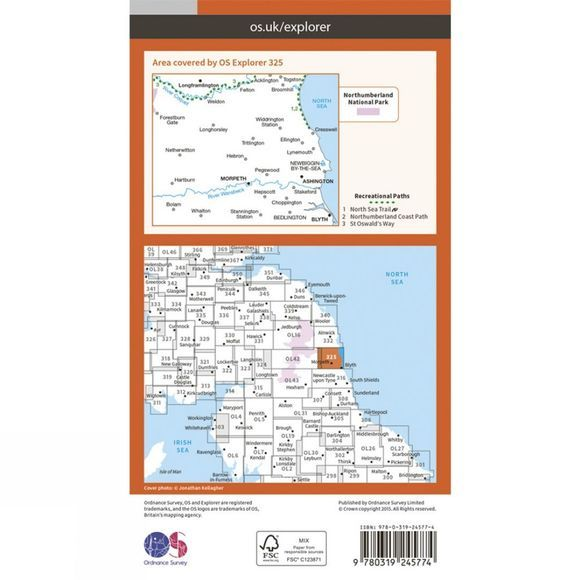 Explorer Map 325 Morpeth and Blyth