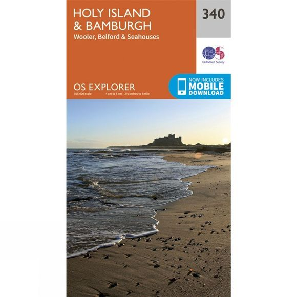 Ordnance Survey Explorer Map 340 Holy Island and Bamburgh V15