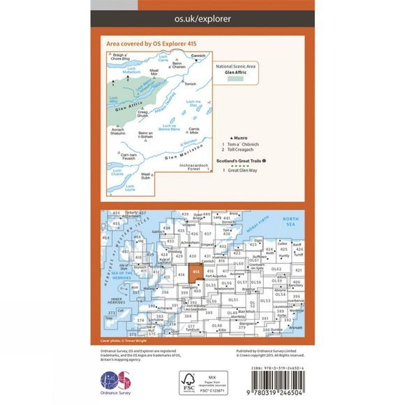 Ordnance Survey Explorer Map 415 Glen Affric and Glen Moriston V15
