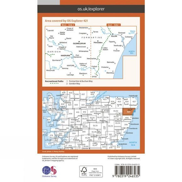 Ordnance Survey Explorer Map 421 Ellon and Inverurie V15