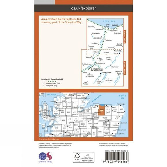 Ordnance Survey Explorer Map 424 Buckie and Keith V15