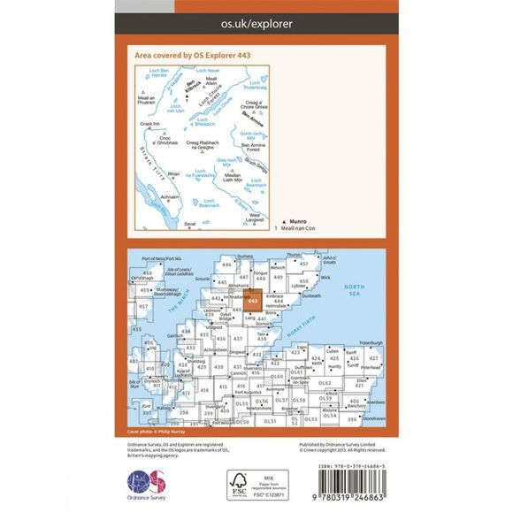 Ordnance Survey Explorer Map 443 Ben Klibreck and Ben Armine V15