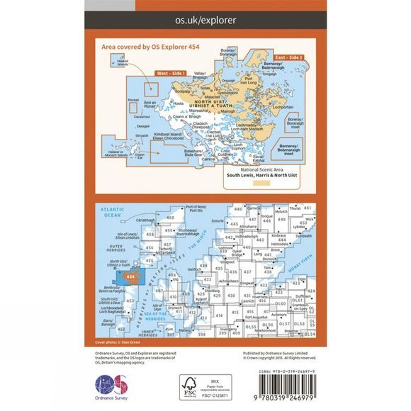 Ordnance Survey Explorer Map 454 North Uist and Berneray V15