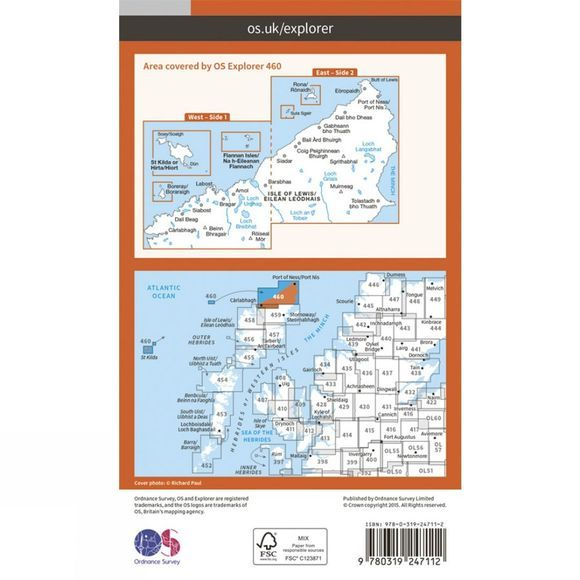 Ordnance Survey Explorer Map 460 North Lewis V15