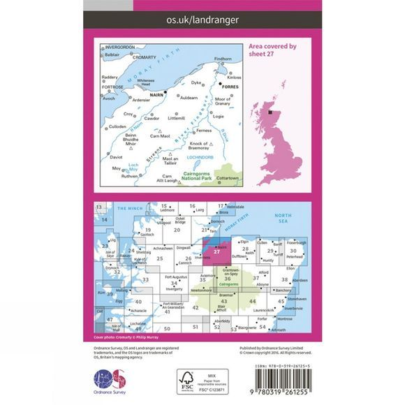 Ordnance Survey Landranger Map 27 Nairn and Forres V16