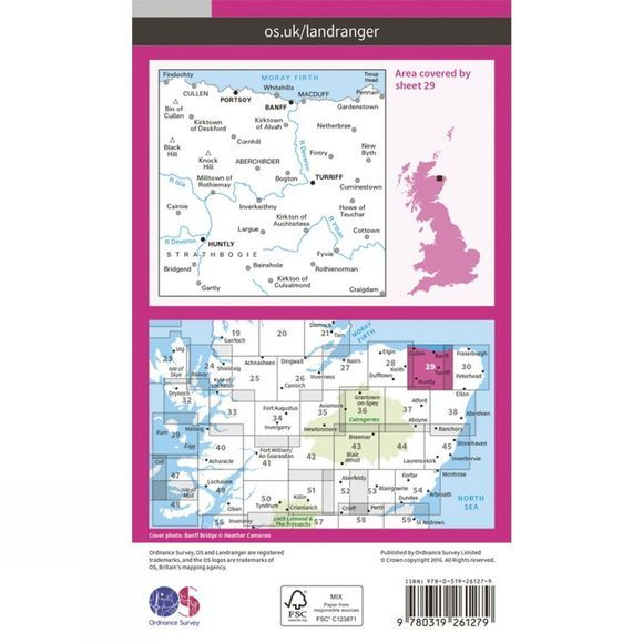 Ordnance Survey Landranger Map 29 Banff and Huntly V16