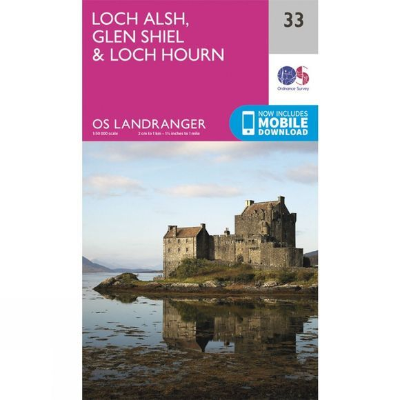 Ordnance Survey Landranger Map 33 Loch Alsh, Glen Shiel and Loch Hourn V16