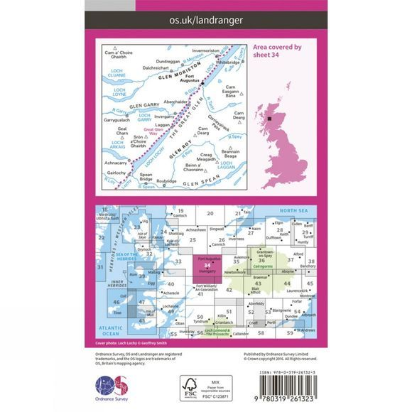 Ordnance Survey Landranger Map 34 Fort Augustus V16