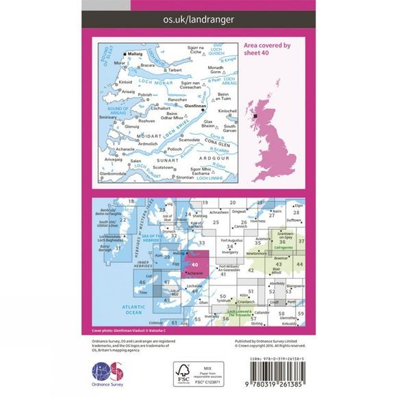 Ordnance Survey Landranger Map 40 Mallaig and Glenfinnan V16