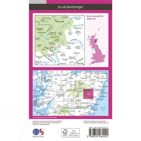 Ordnance Survey Landranger Map 44 Ballater and Glen Clova V16