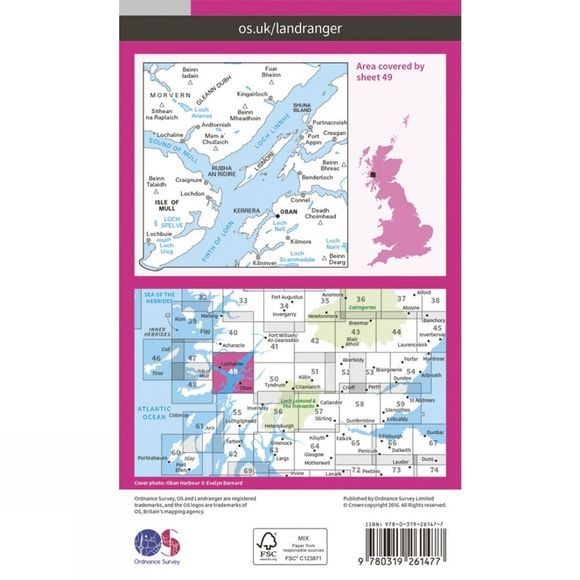Ordnance Survey Landranger Map 49 Oban and East Mull V16