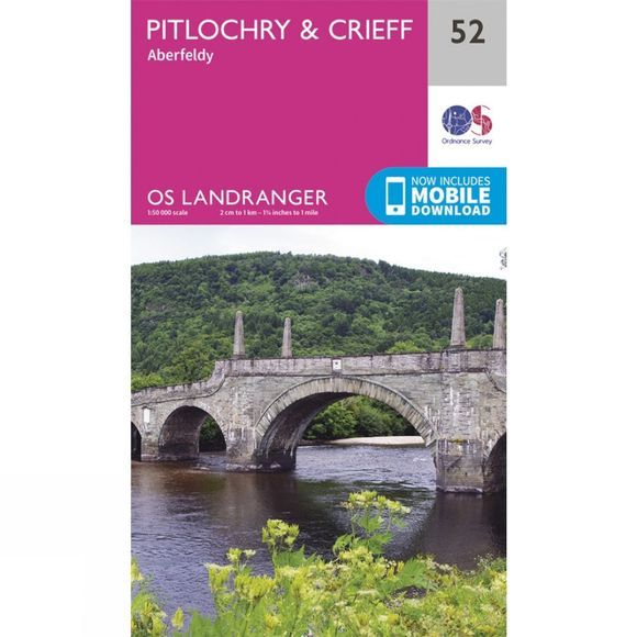 Ordnance Survey Landranger Map 52 Pitlochry and Crieff V16