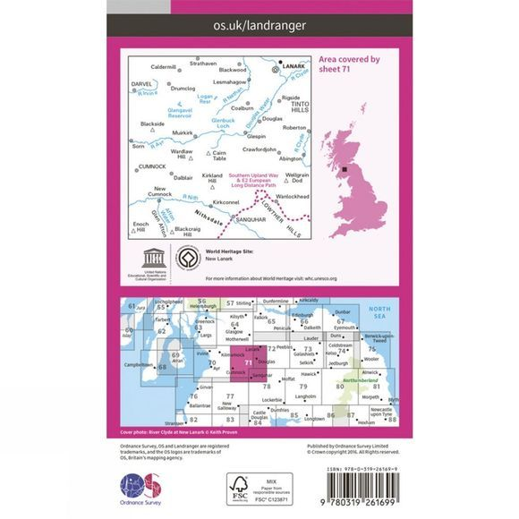 Ordnance Survey Landranger Map 71 Lanark and Upper Nithsdale V16