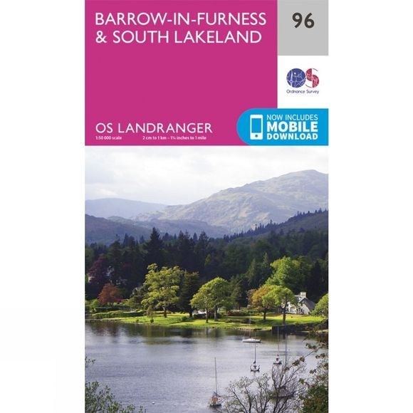 Ordnance Survey Landranger Map 96 Barrow-in-Furness and South Lakeland V16