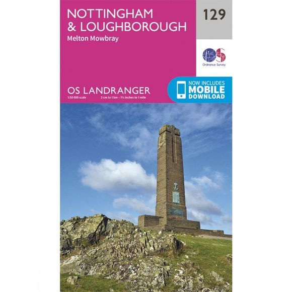 Ordnance Survey Landranger Map 129 Nottingham and Loughborough V16