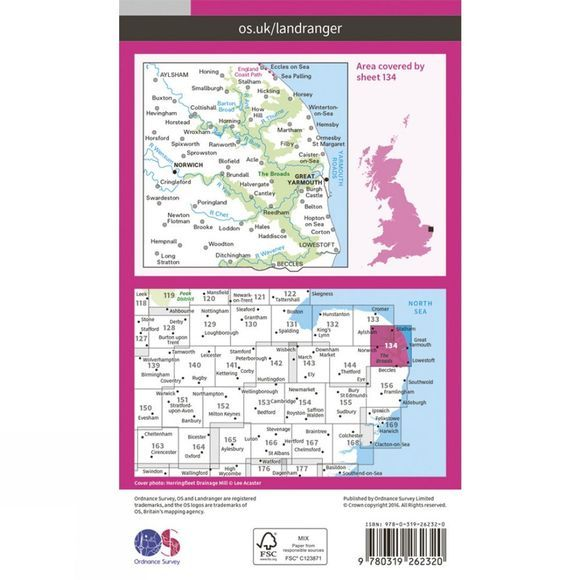 Ordnance Survey Landranger Map 134 Norwich and The Broads V16