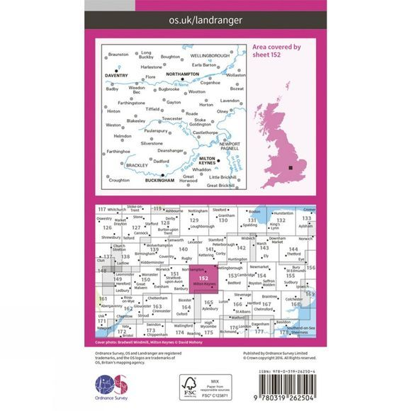 Landranger Map 152 Northampton and Milton Keynes