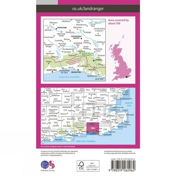 Ordnance Survey Landranger Map 198 Brighton and Lewes V16