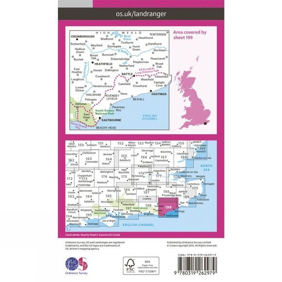 Landranger Map 199 Eastbourne and Hastings