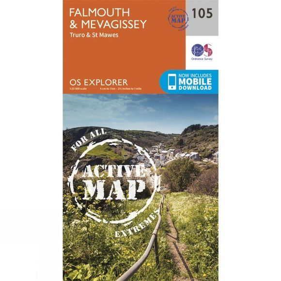 Ordnance Survey Active Explorer Map 105 Falmouth and Mevagissey V15