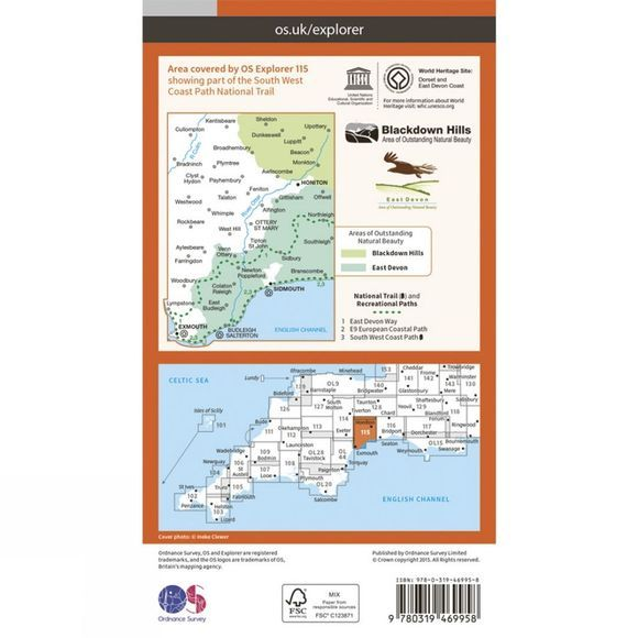 Active Explorer Map 115 Exmouth and Sidmouth