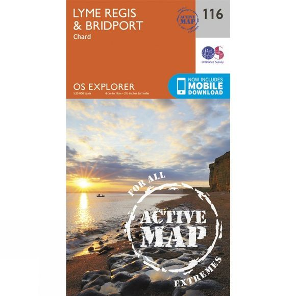 Ordnance Survey Active Explorer Map 116 Lyme Regis and Bridport V15
