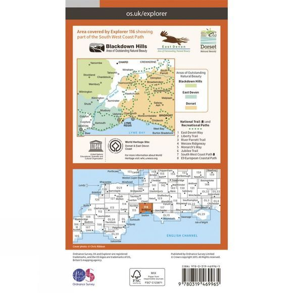 Active Explorer Map 116 Lyme Regis and Bridport