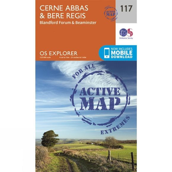 Ordnance Survey Active Explorer Map 117 Cerne Abbas and Bere Regis V15